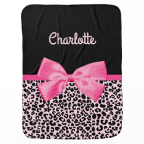 Girly Pink Black Leopard Print Cute Bow Baby Name Swaddle Blanket