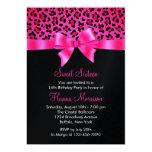 Girly Pink Black Leopard Print Elegant Sweet 16 Custom Invites