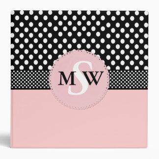 Girly Pink & Black Monogram Binder