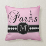 Girly Pink Black Paris Monogrammed Pillow