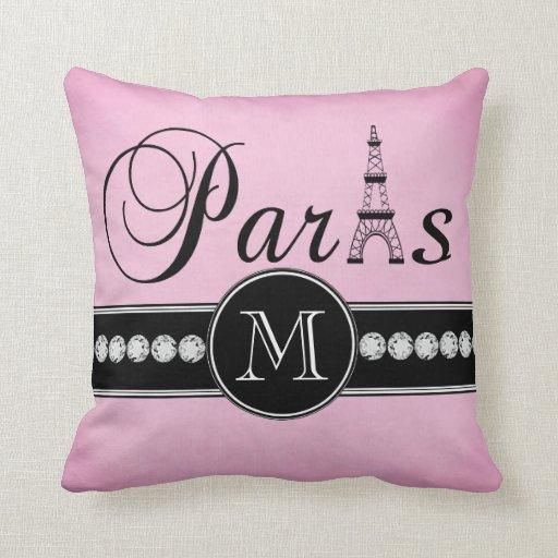Girly Pink Black Paris Monogrammed Pillow