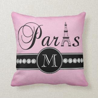 Girly Pink Black Paris Monogrammed Throw Pillow