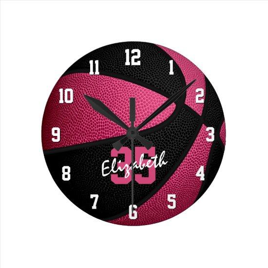 girly pink black personalized basketball round clock