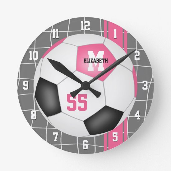 girly pink black personalized soccer round clock