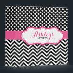 "Girly Pink Black Polka Dots Chevron Recipe Binder<br><div class=""desc"">A girly and cute personalized recipe binder with a black,  fuchsia pink and white polka dots and chevron pattern design. A pretty and trendy custom kitchen binder.</div>"