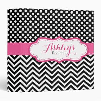 Girly Pink Black Polka Dots Chevron Recipe Binder