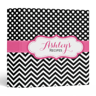 Girly Pink Black Polka Dots Chevron Recipe Binder