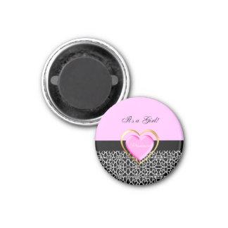 Girly Pink Black Princess Giraffe Print and Name Magnet