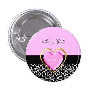 Girly Pink Black Princess Giraffe Print and Name Pinback Button