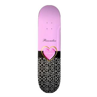 Girly Pink Black Princess Giraffe Print and Name Skateboard