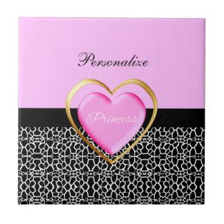 Girly Pink Black Princess Giraffe Print and Name Small Square Tile