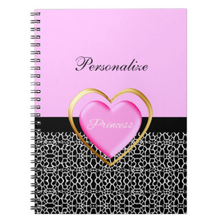 Girly Pink Black Princess Giraffe Print and Name Spiral Notebook