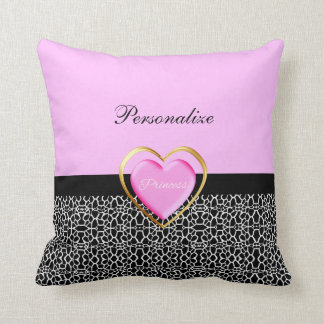 Girly Pink Black Princess Giraffe Print and Name Throw Pillow