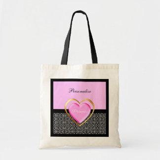 Girly Pink Black Princess Giraffe Print and Name Tote Bag