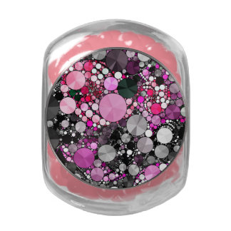 Girly Pink Bling Abstract Glass Candy Jar