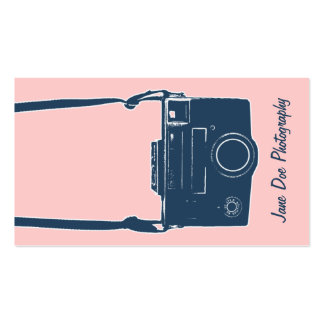 Girly Pink & Blue Antique Film Camera Photography Business Card
