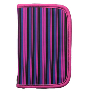 Girly Pink Blue Black Stripes Pattern Organizers