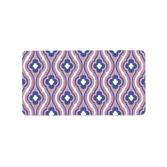 Girly Pink Blue Floral Pattern Label