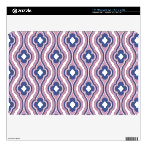 Girly Pink Blue Floral Pattern MacBook Decal