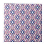 Girly Pink Blue Floral Pattern Tiles