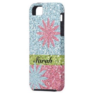 Girly Pink Blue Flower Sparkles iPhone 5 Cases