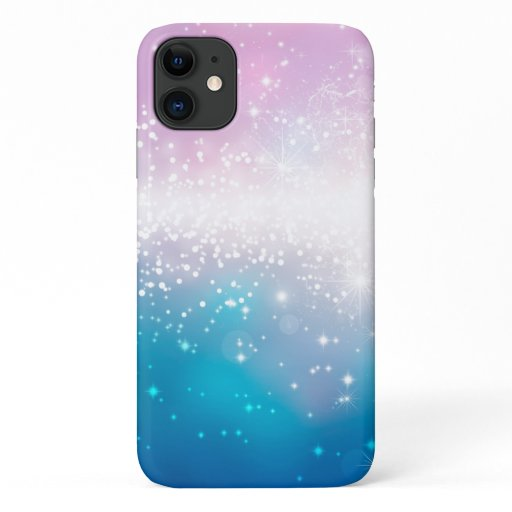 Girly Pink Blue Sparkling Lights iPhone  Case