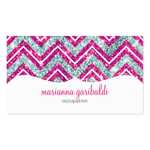 Girly Pink & Blue Sparkly Faux Glitter Chevron Business Card Templates