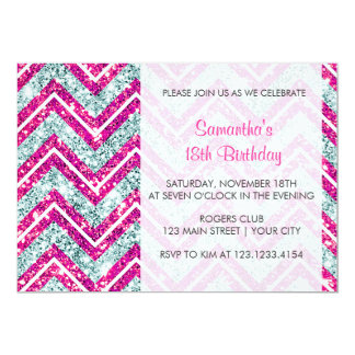 Girly Pink & Blue Sparkly Faux Glitter Chevron Card