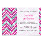 Girly Pink & Blue Sparkly Faux Glitter Chevron Invitations