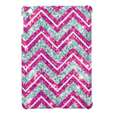 Girly Pink & Blue Sparkly Faux Glitter Chevron Ipad Mini Cases at Zazzle