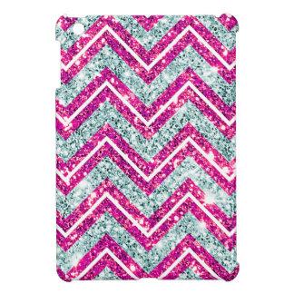 Girly Pink & Blue Sparkly Faux Glitter Chevron iPad Mini Cases