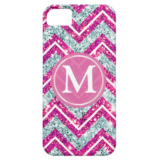 Girly Pink & Blue Sparkly Faux Glitter Chevron iPhone SE/5/5s Case
