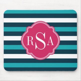 Girly Pink Blue White Striped Pattern Monogram Mouse Pad