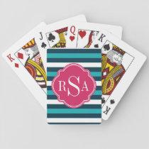Girly Pink Blue White Striped Pattern Monogram Playing Cards