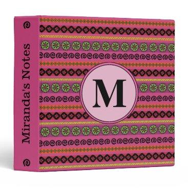 Girly Pink Boho Aztec Pattern Monogram Binder