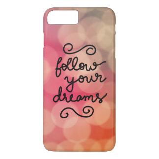 Girly Pink Bokeh Follow Your Dreams Script iPhone 8 Plus/7 Plus Case