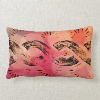 Girly Pink Bokeh Gold and Black Tribal Celtic Knot Lumbar Pillow