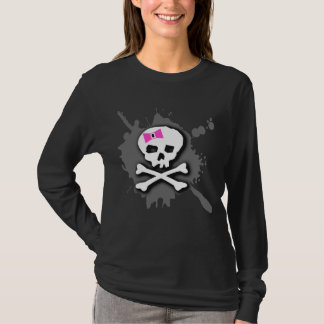 Girly Pink Bow Skull T-Shirt