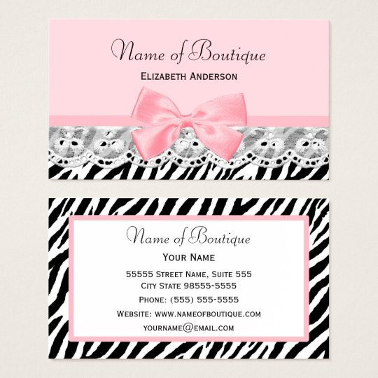 Girly pink bows and lace zebra print boutique business card girly pink bows and lace zebra print boutique business card reheart Gallery