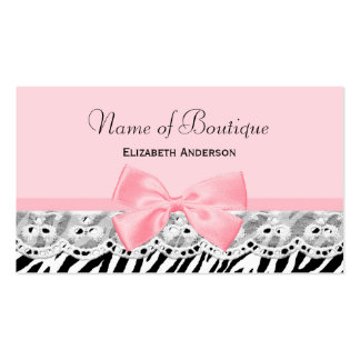 Girly Pink Bows and Lace Zebra Print Boutique Double-Sided Standard Business Cards (Pack Of 100)