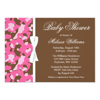 Girly Pink Brown Camo Ribbon Baby Shower Card