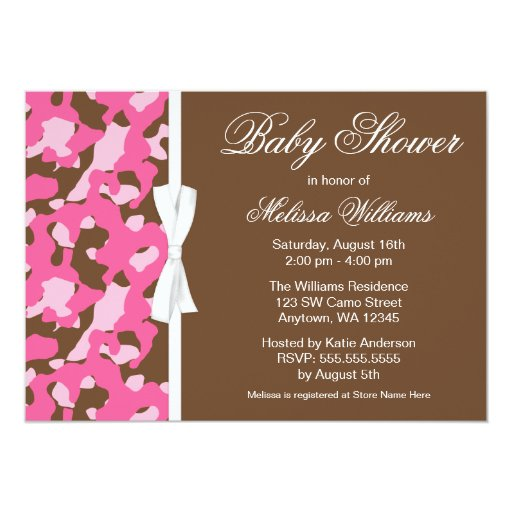 Girly pink brown camo ribbon baby shower 5x7 paper invitation card