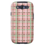Girly Pink Brown Green Springtime Plaid Pattern Galaxy S3 Cases