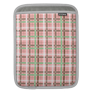 Girly Pink Brown Green Springtime Plaid Pattern Sleeves For iPads