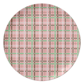 Girly Pink Brown Green Springtime Plaid Pattern Melamine Plate