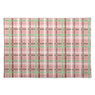 Girly Pink Brown Green Springtime Plaid Pattern Placemats