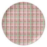 Girly Pink Brown Green Springtime Plaid Pattern Plates