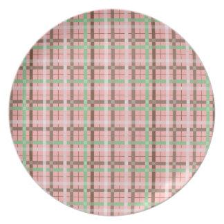 Girly Pink Brown Green Springtime Plaid Pattern Dinner Plates