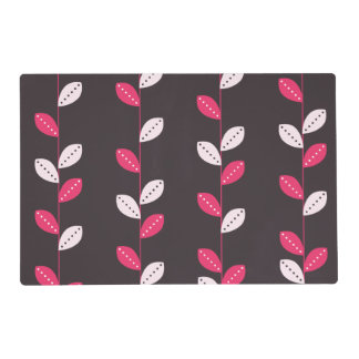 Girly Pink & Brown Leaf Pattern Placemat