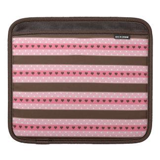 Girly Pink & Brown Stripes and Polka Dots Pattern iPad Sleeve